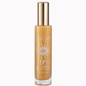 olio illuminante protezione 6 bassa pelle scura UVA UVB IR water resistant glitterato