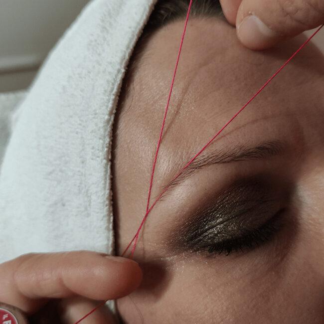 Epilazione etica con filo arabo sopracciglia viso lenitivo